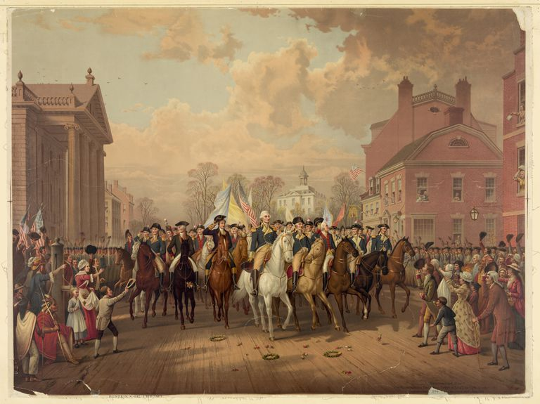 Evacuation Day And Washington's Triumphal Entry In New York City, Nov. 25Th, 1783 Published: Phil., Pa : Pub. [E.P.] & L. Restein, [1879]