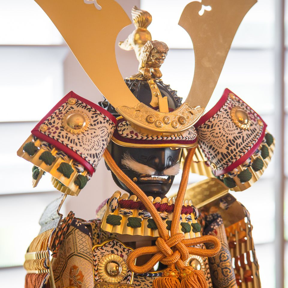 Gogatsu Ningyo (Samurai Doll) Shown with Kabuto (Warrior Helmet)
