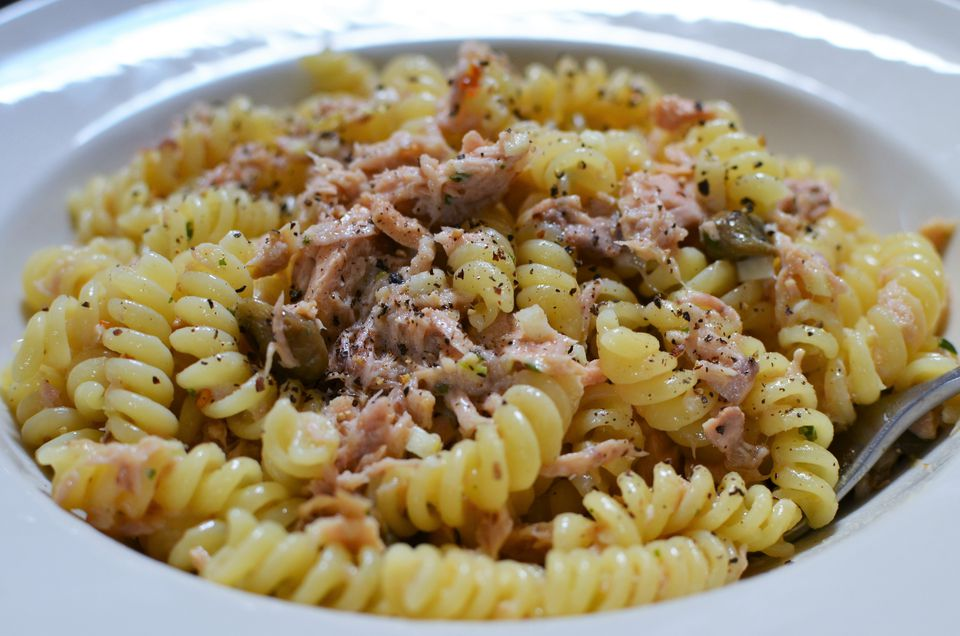 Pasta with Oil-Packed Tuna, Capers, Lemon, Garlic and White Wine