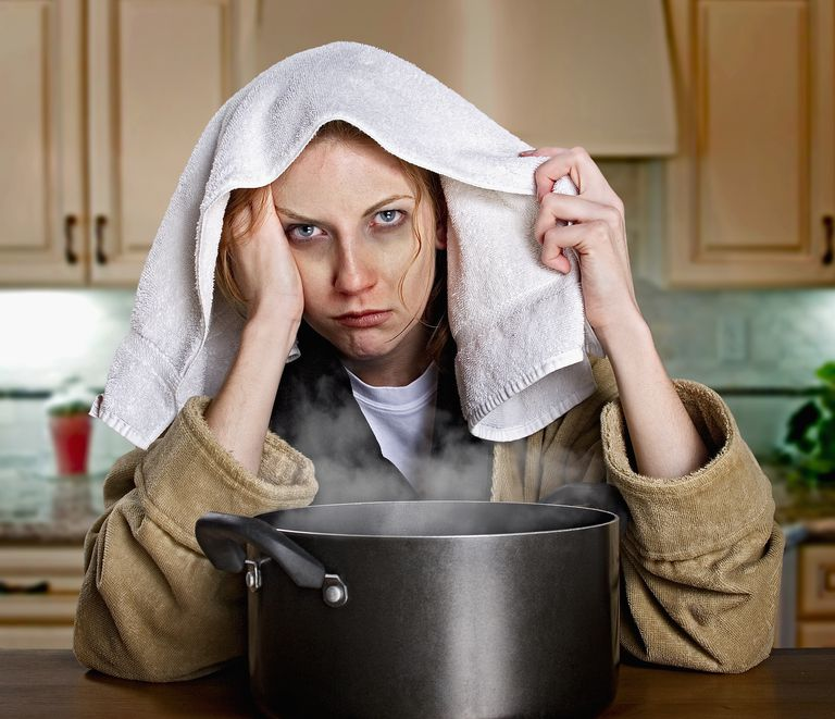 woman sick with flu