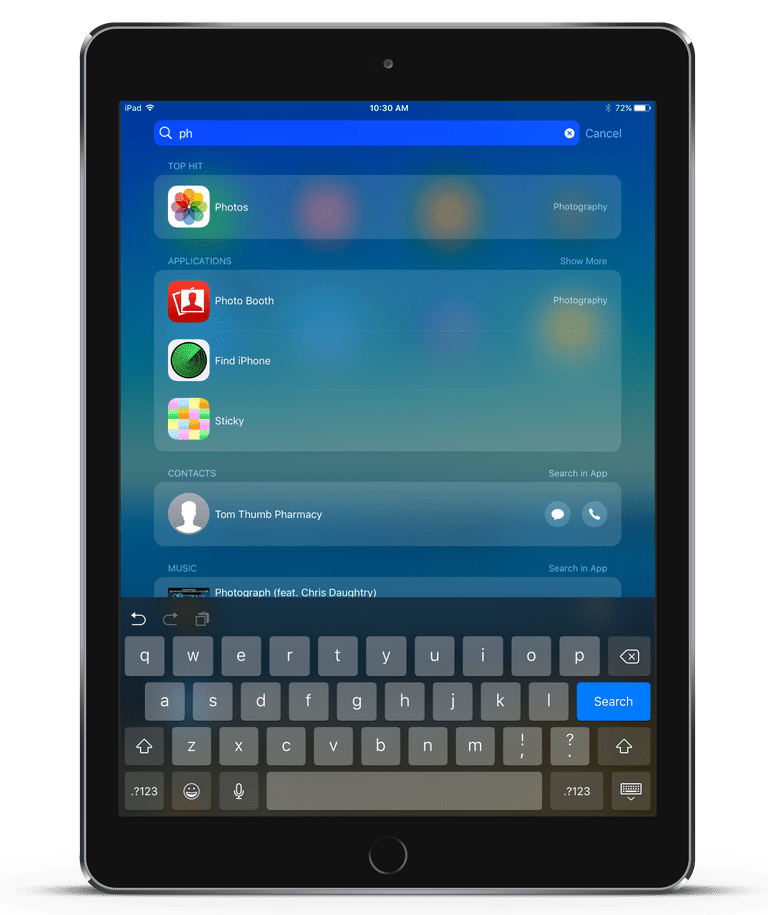 An iPad using spotlight search