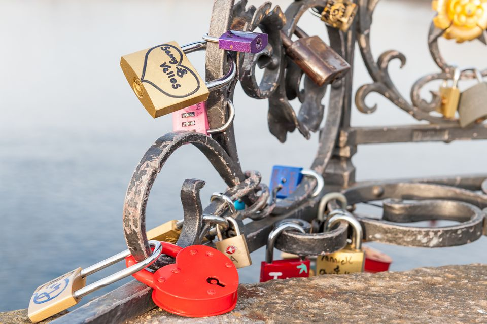 Love and promise padlocks on Charles Bridge, Prague, Czech Republic