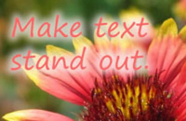 The red text with a blurred background is over a photo of a flowed.