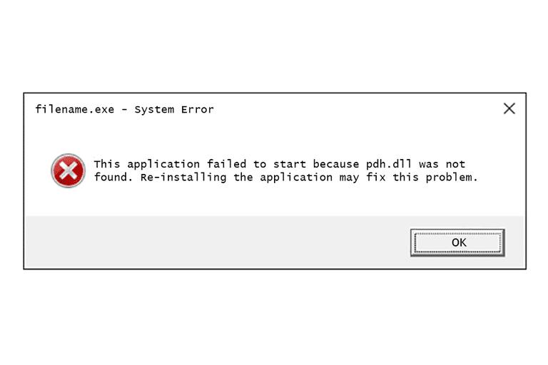 Screenshot of a pdh DLL error message in Windows