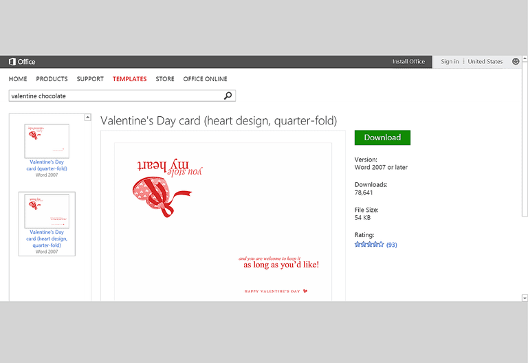 Free Valentine's Day Templates for MS Office