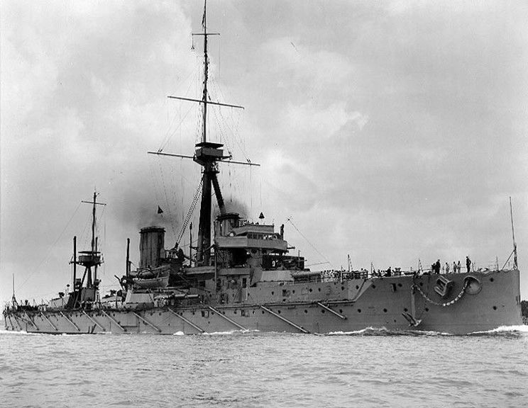 HMS Dreadnought at sea.