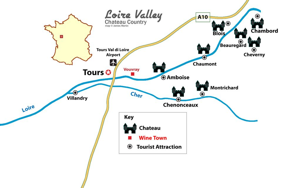Map of notable chateaux of the Loire Valley