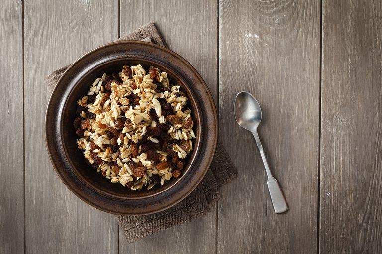 Plate of homemade granola.