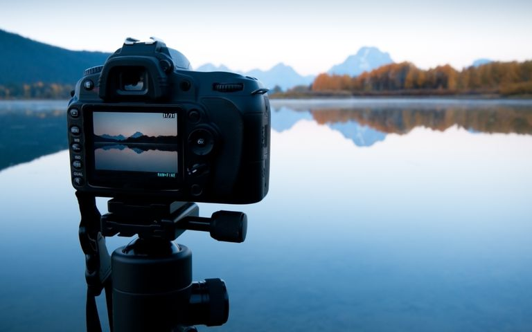 Camera capturing sunset