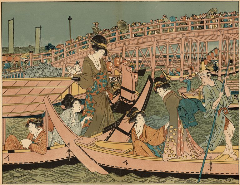 This ukiyo-e print of a boating party in Edo is from 1875.