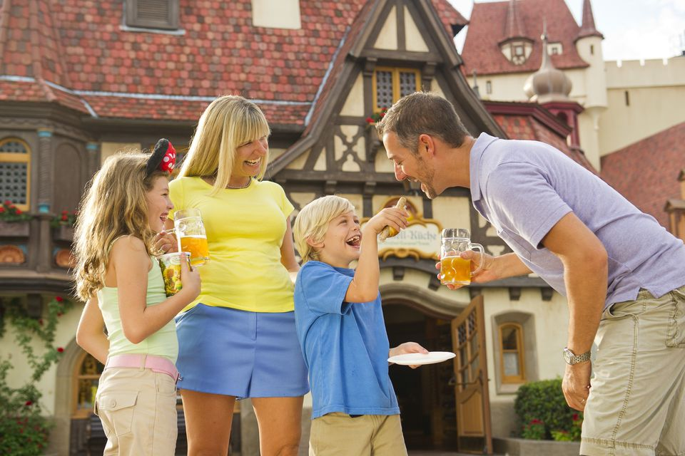 Family Enjoying Epcot's Food and Wine Festival
