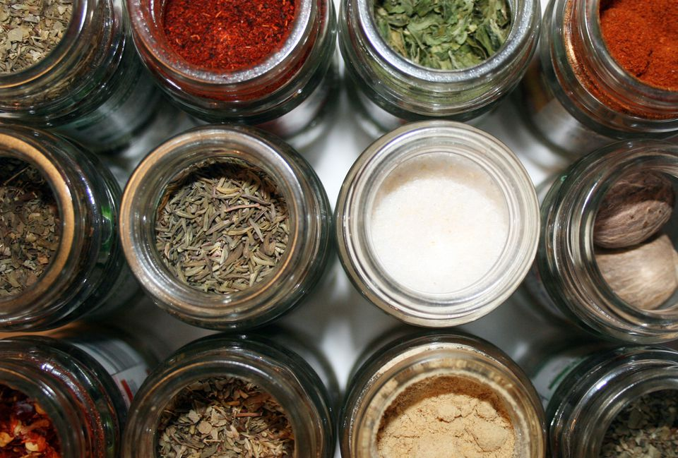 Jars of dried herbs and spices