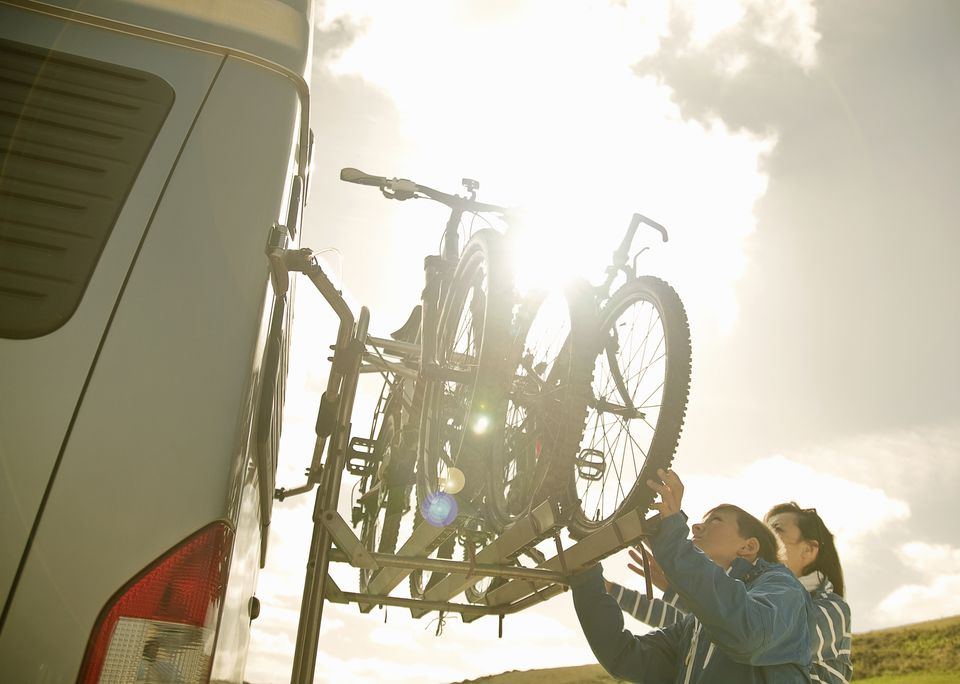 Loading bikes on back of camper van