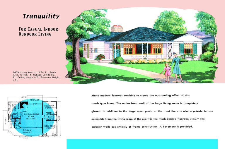 1950s floor plan and rendering of ranch style house called tranquility - 1950 Home Floor Plans