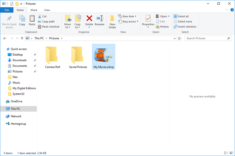 Screenshot showing how to copy a file from a Windows 10 folder