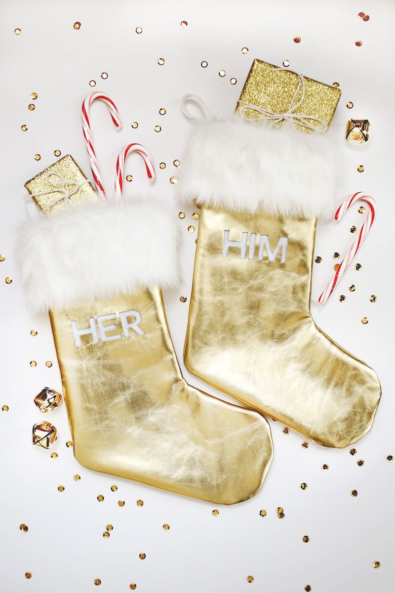 DIY Gold Leather Stockings