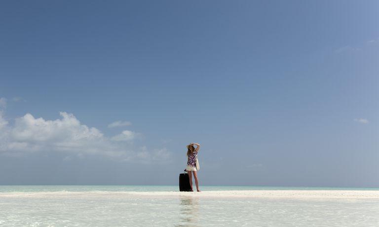Lost female tourist on a desert island
