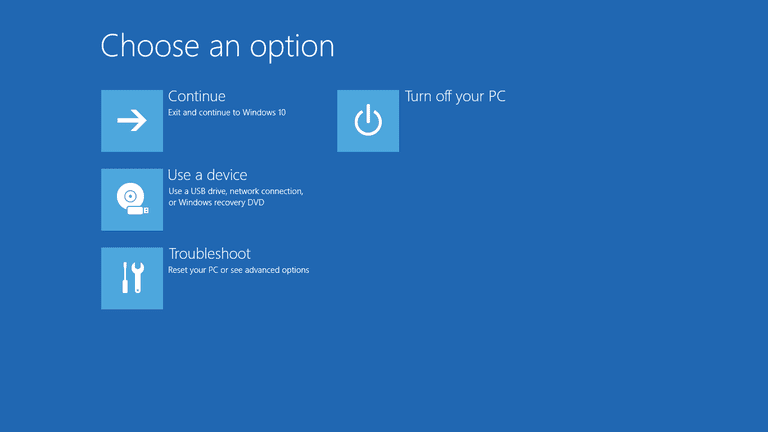Screenshot of the Advanced Startup Options menu in Windows 10