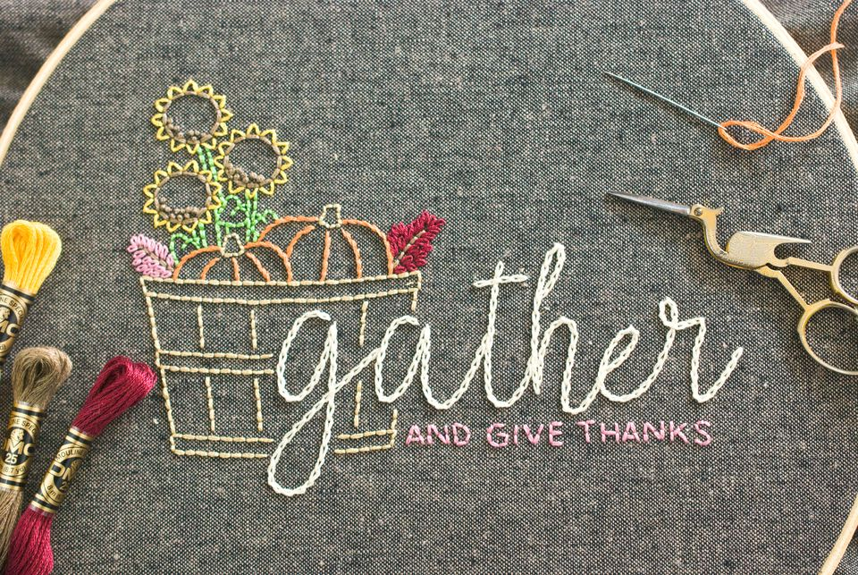 Gather and Give Thanks Embroidery