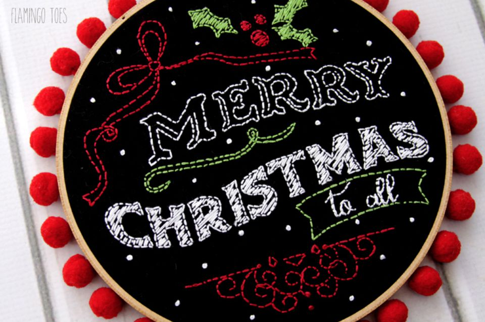 Merry Christmas Chalk Art Pattern