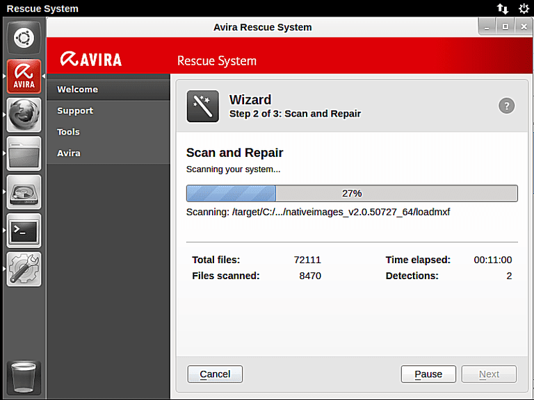 Screenshot of Avira Rescue System v15