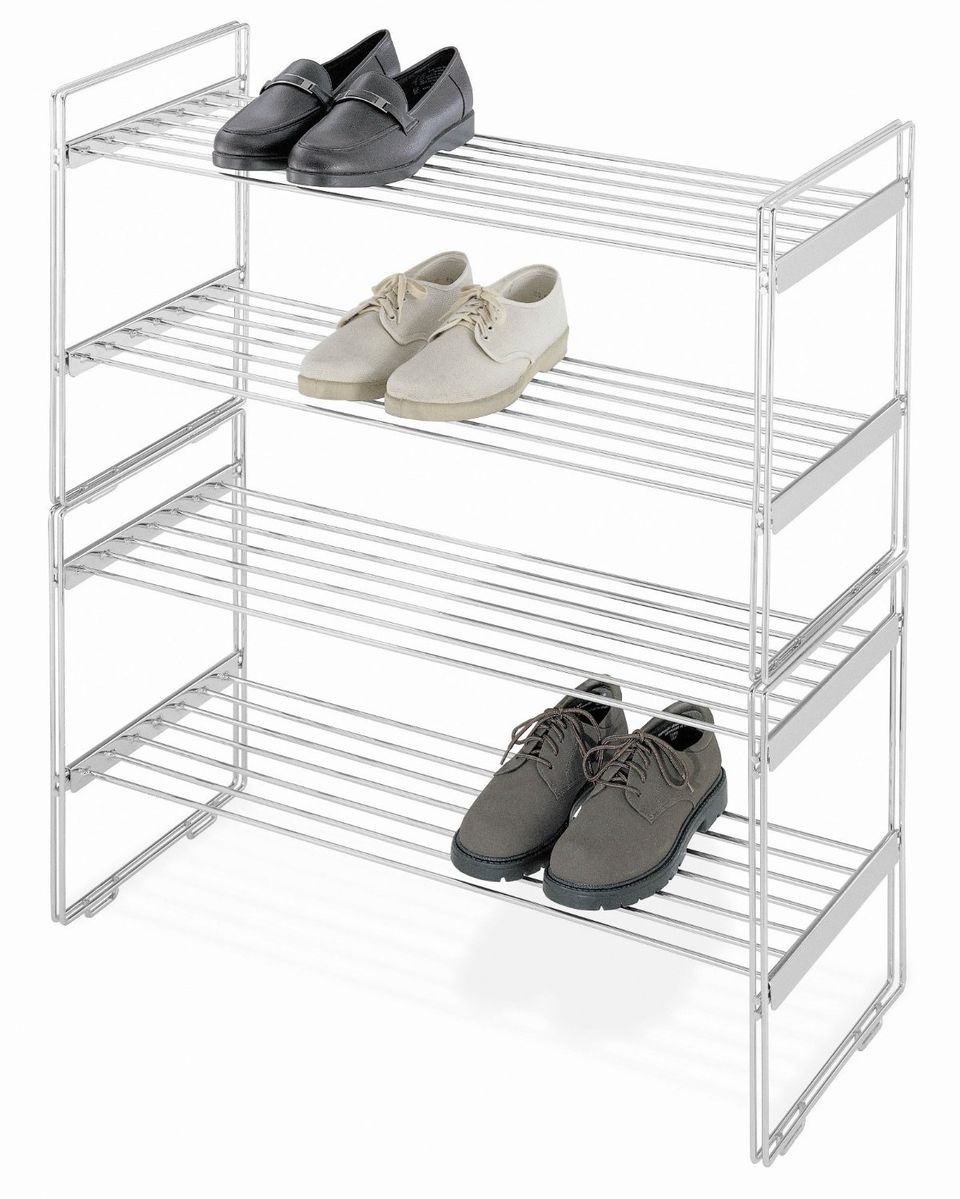 A shoe rack keeps your shoes organized.