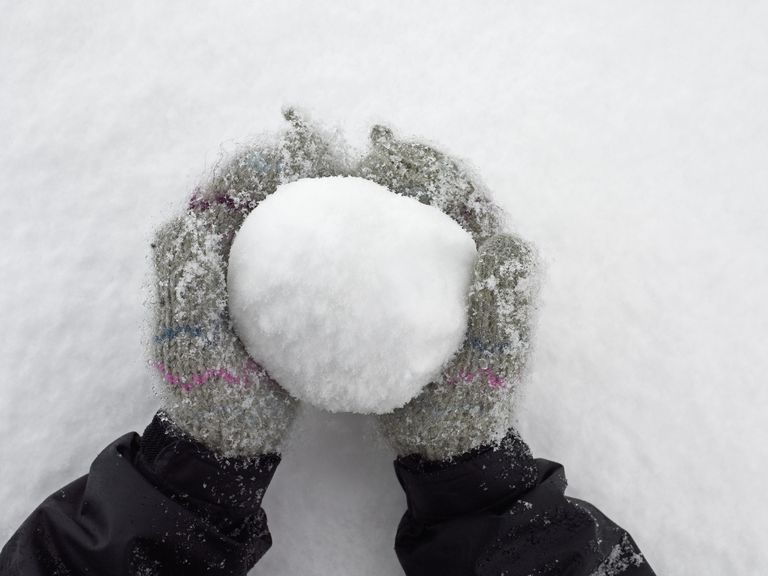 hands wearing mittens holding large snowball