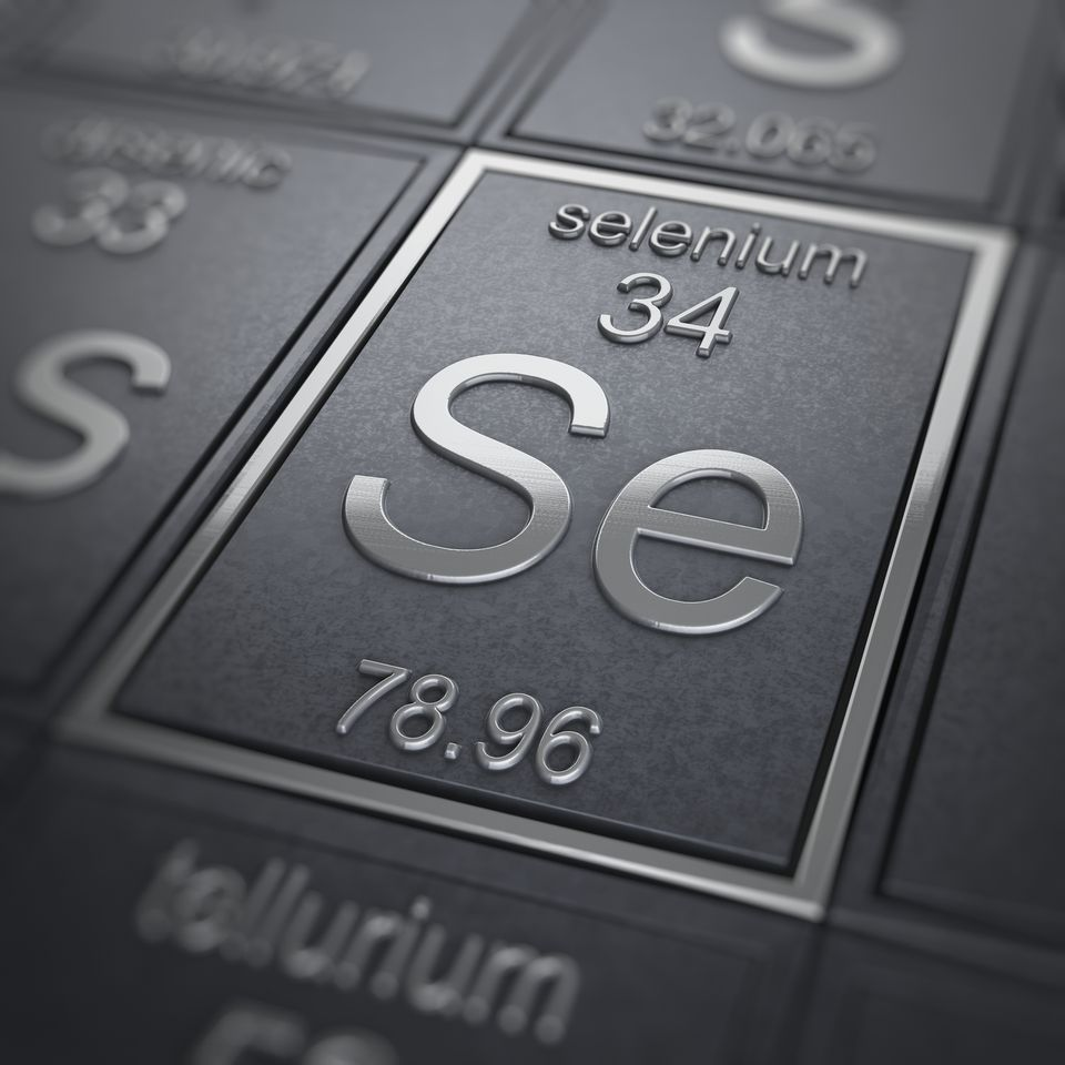Selenium (Chemical Element) A close-up view of the periodic table focused on the chemical element Selenium.