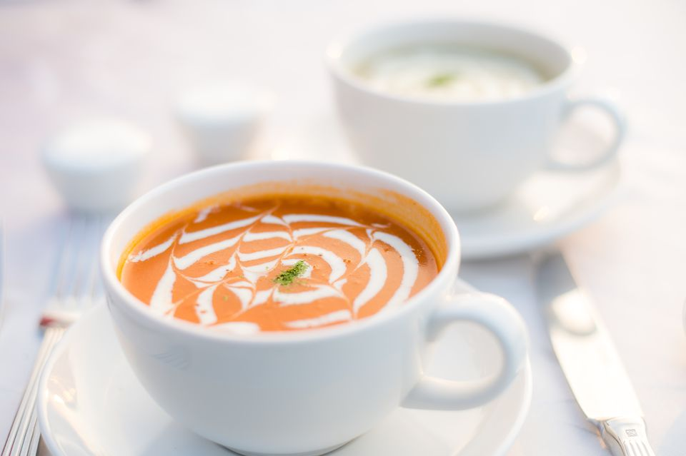 Cups of mushroom soup and tomato bisque, Penang, Malaysia