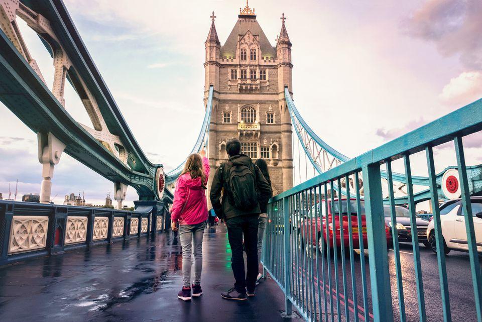 Family on Tower bridge