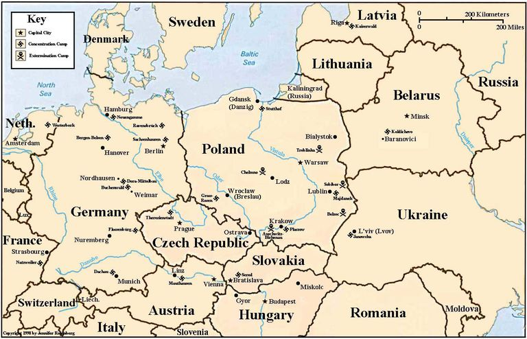 Holocaust map of Eastern Europe, indicating locations of major Nazi concentration and death camps.