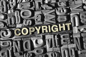 The word COPYRIGHT among the letterpress letters