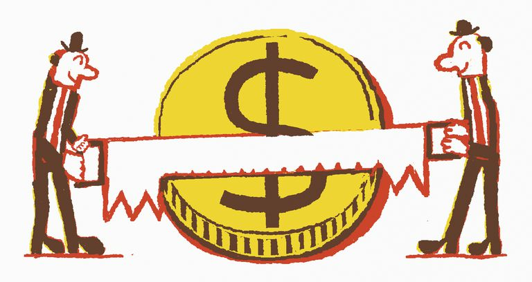 Cutting a Dollar Illustration