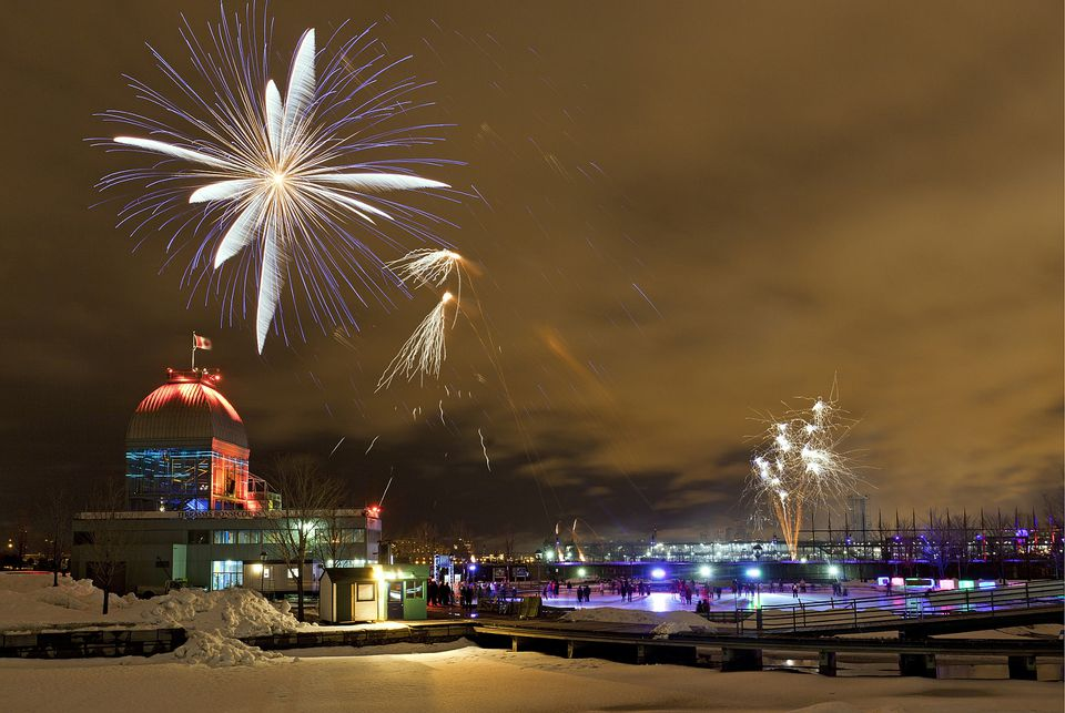 Montreal Christmas fireworks are a holiday tradition in the city.