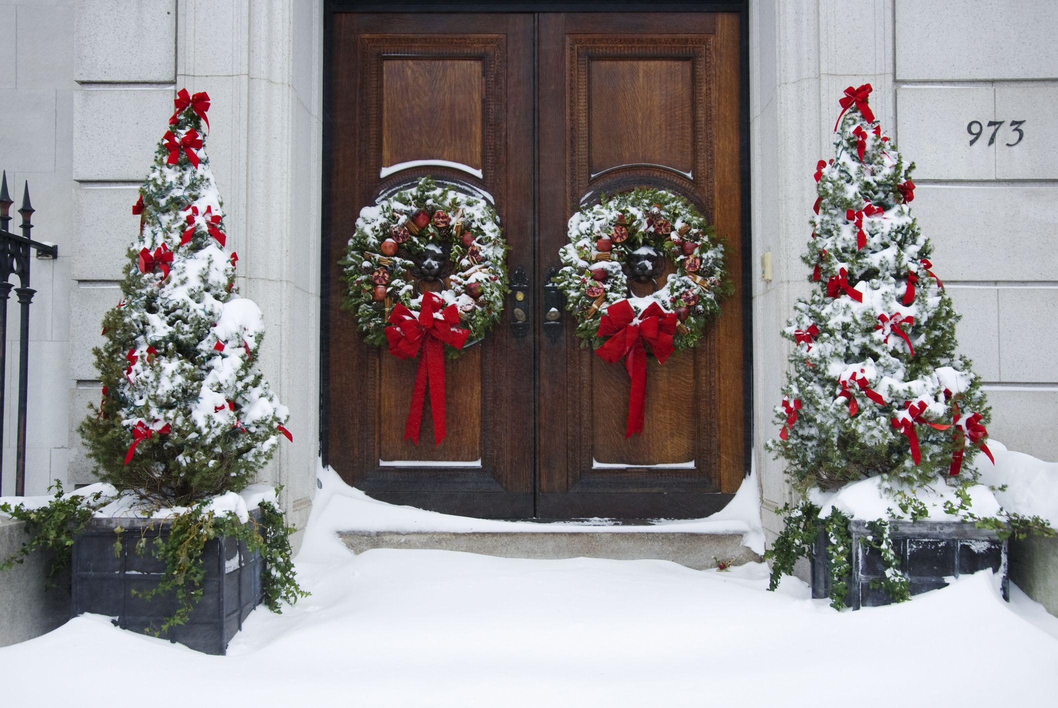 100 Backyards Christmas Wreath Door Decoration How  : Alberta spruce flank double doors big 57e424bd3df78c690f789842 from cheyas.com size 2116 x 1417 jpeg 435kB