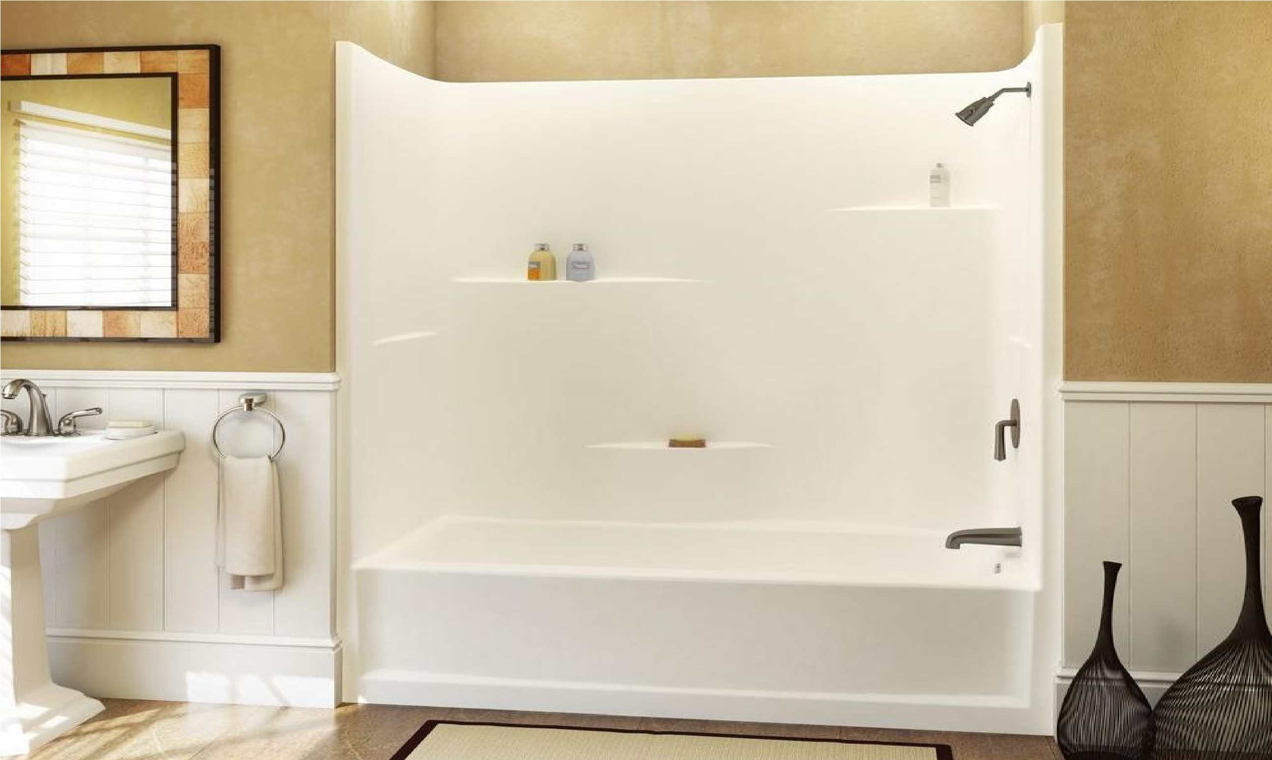 combo with bathtub surround bath shower applied decor tub floor and to pan seat bathroom fiberglass your for home admirable lowes