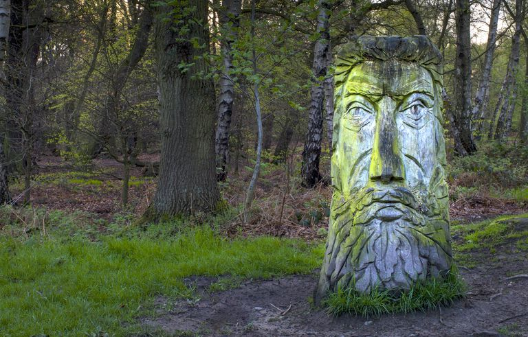 A Green Man Carved From a Tree Trunk