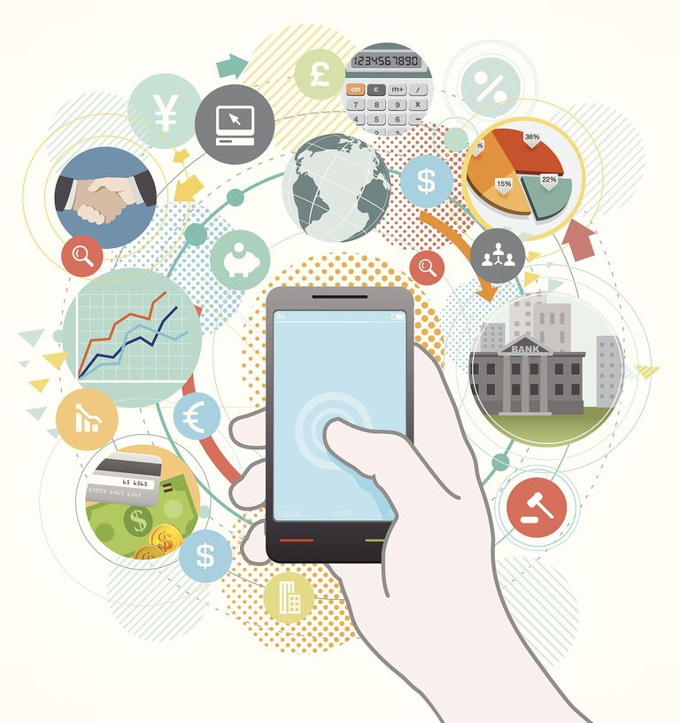 Image of a smartphone and a number of apps