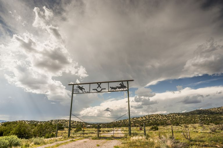 Ranch Gate and Dramatic Clouds