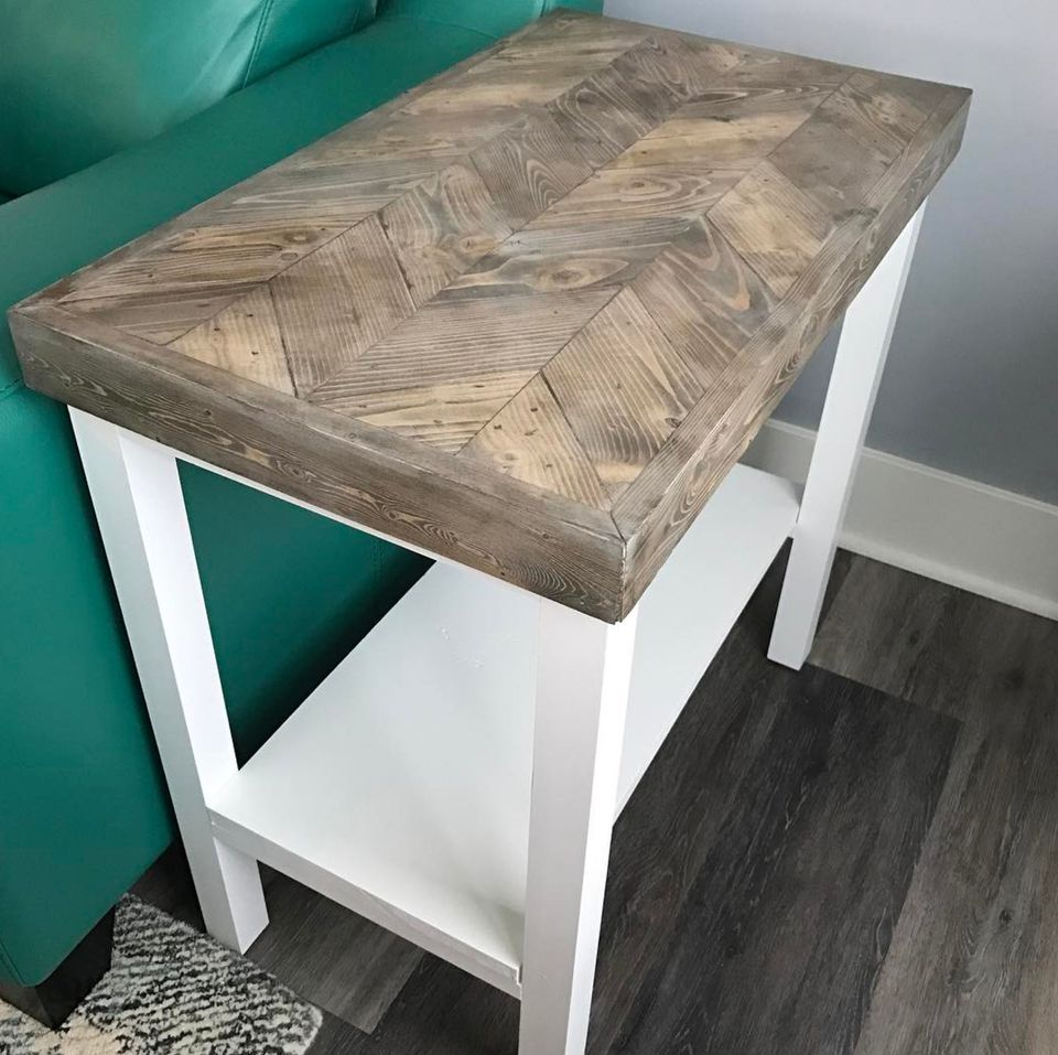 wood and white side table