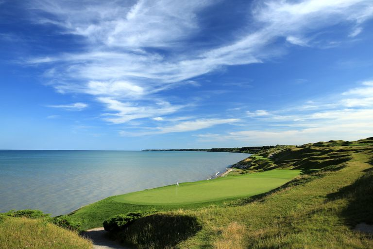 The 7th hole at Whistling Straits golf course, site of the 2020 Ryder Cup