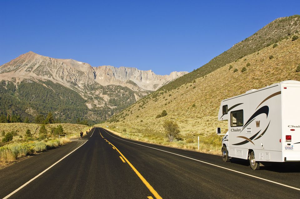 RV Camper on Tioga Road/Big Oak Flat Road National Scenic Byway into Yosemite