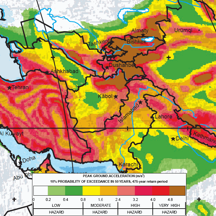 Major earthquake zones on each continent central asia map global seismic hazard assessment program gumiabroncs Images