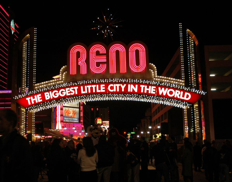 World famous Reno Arch in downtown Reno, Nevada, NV.