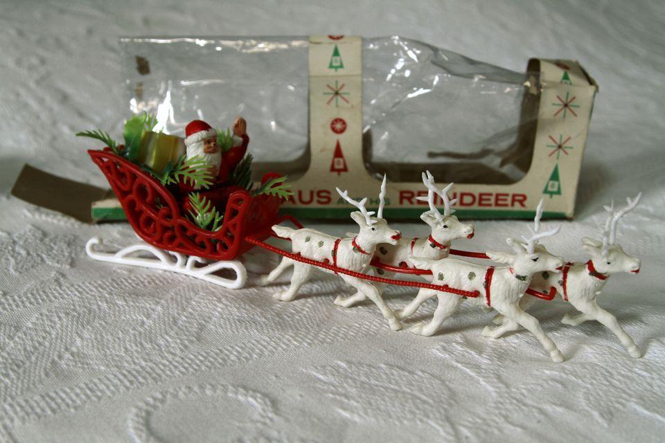 Vintage mid-1950's Santa and reindeer in the original packaging