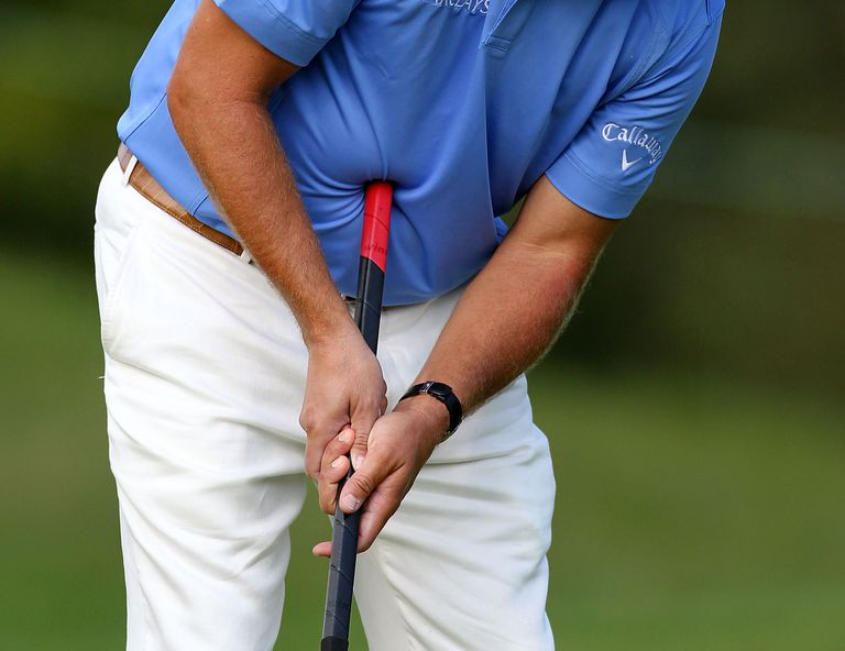 Phil Mickelson using a belly putter on the PGA Tour