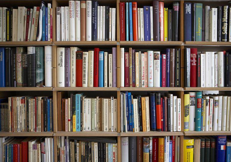 Various books on shelf, full frame