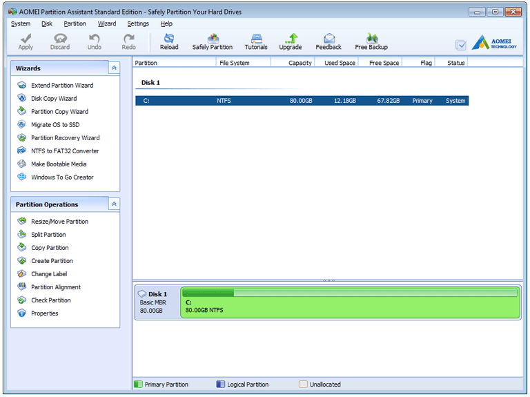 Screenshot of AOMEI Partition Assistant Standard Edition in Windows 7