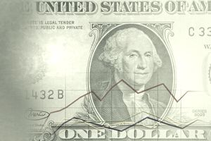 Dollar bill with a graph of rolling returns on it.
