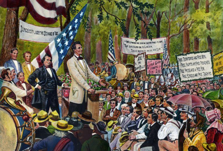 Painting of Lincoln Douglas debate.